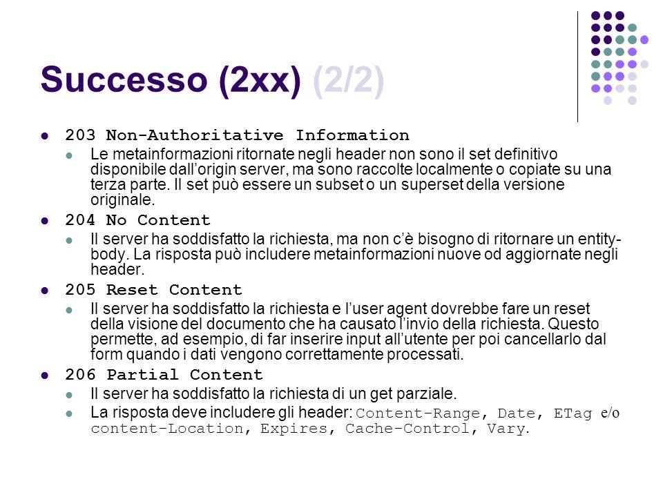 Successo (2xx) (2/2) 203 Non-Authoritative Information 204 No Content
