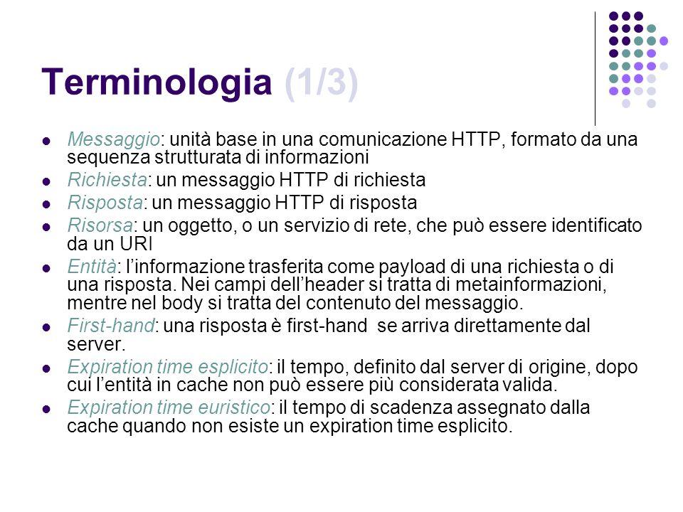 Terminologia (1/3) Messaggio: unità base in una comunicazione HTTP, formato da una sequenza strutturata di informazioni.