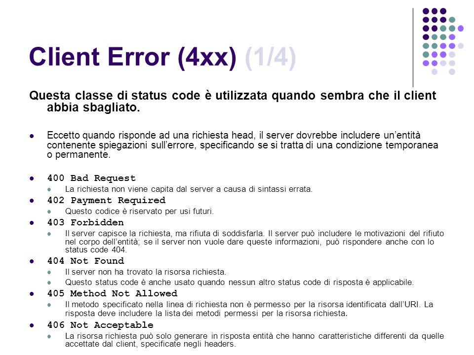 Client Error (4xx) (1/4) Questa classe di status code è utilizzata quando sembra che il client abbia sbagliato.