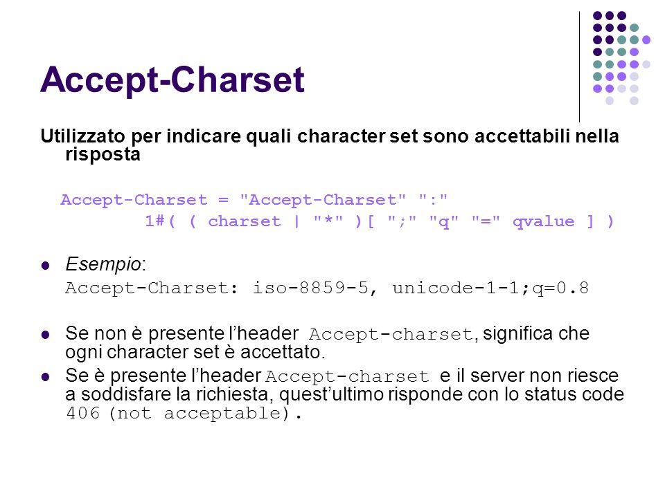 Accept-Charset Utilizzato per indicare quali character set sono accettabili nella risposta. Accept-Charset = Accept-Charset :