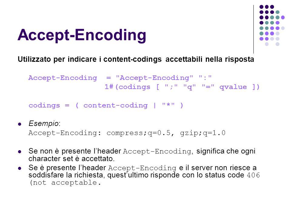 Accept-Encoding Utilizzato per indicare i content-codings accettabili nella risposta. Accept-Encoding = Accept-Encoding :