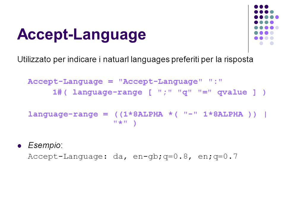 Accept-Language Utilizzato per indicare i natuarl languages preferiti per la risposta. Accept-Language = Accept-Language :