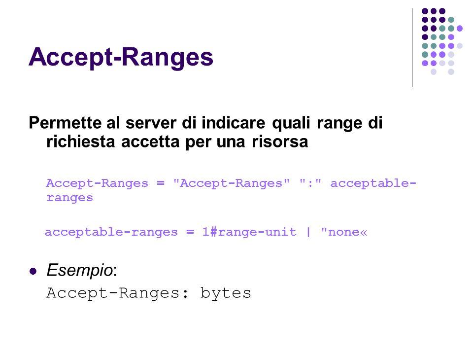 Accept-Ranges Permette al server di indicare quali range di richiesta accetta per una risorsa. Accept-Ranges = Accept-Ranges : acceptable-ranges.