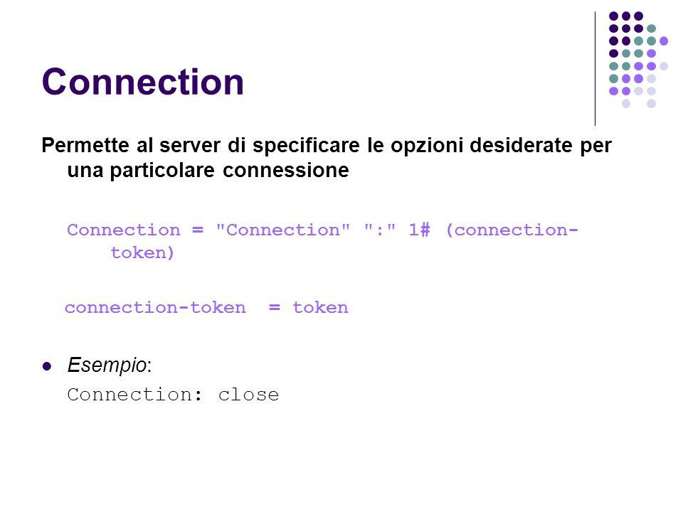 Connection Permette al server di specificare le opzioni desiderate per una particolare connessione.