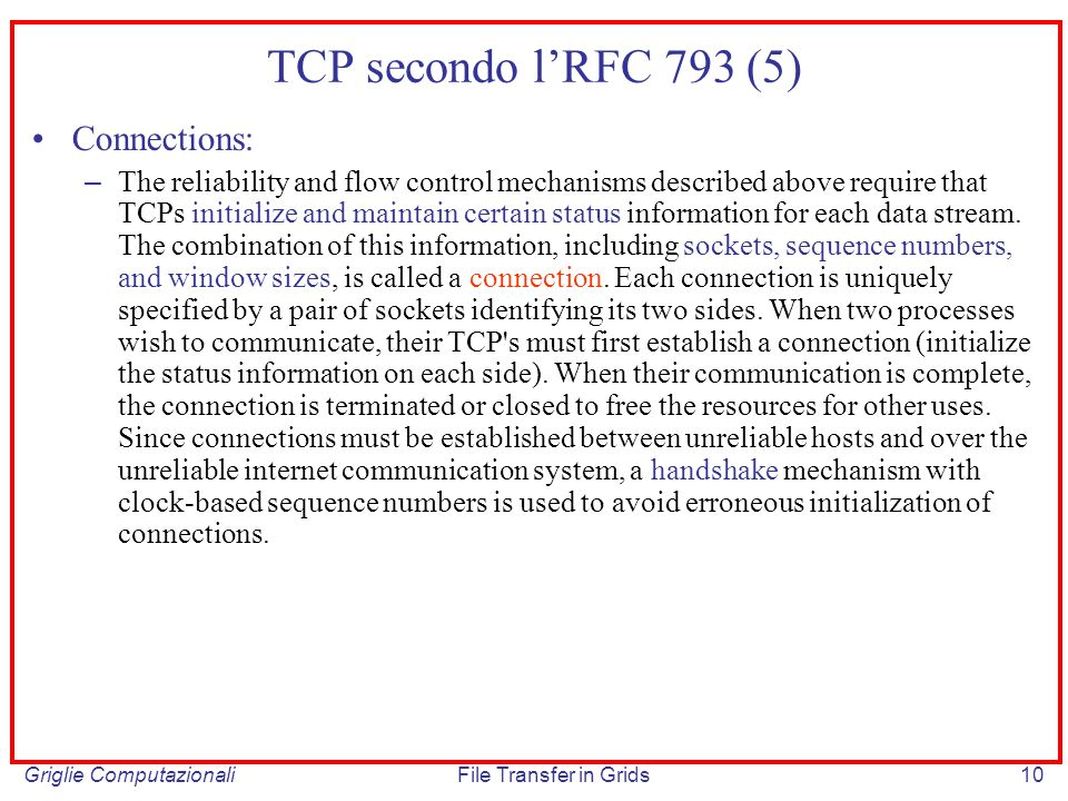 TCP secondo l'RFC 793 (5) Connections: