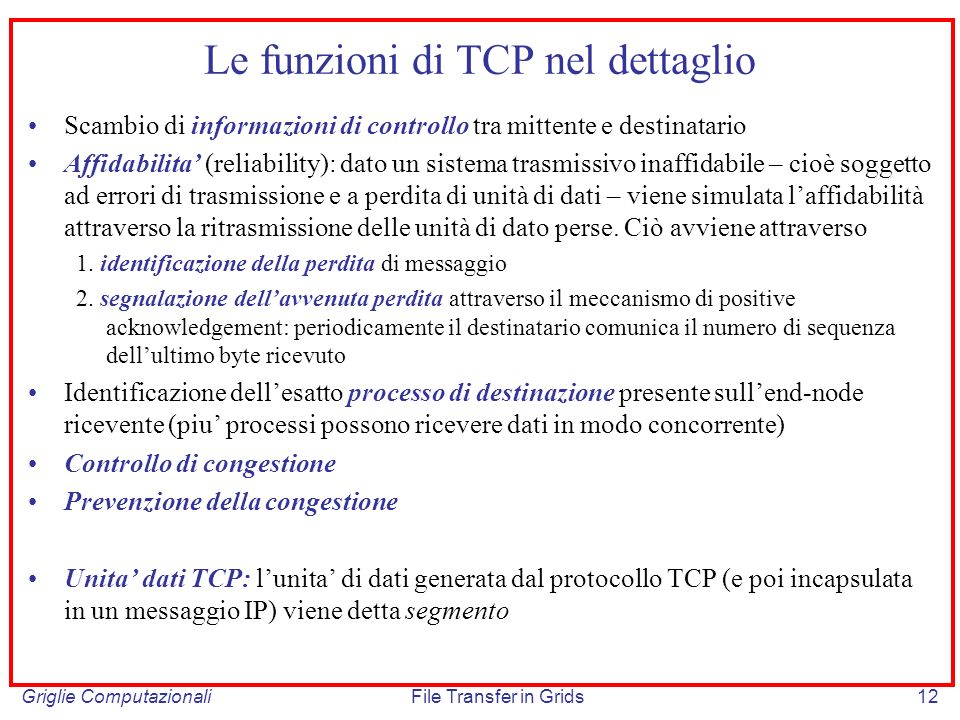 Le funzioni di TCP nel dettaglio