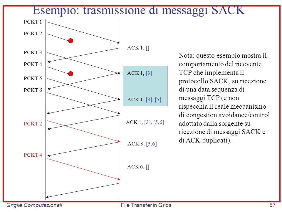 Esempio: trasmissione di messaggi SACK