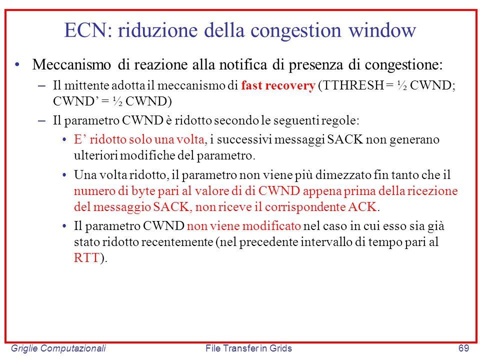 ECN: riduzione della congestion window
