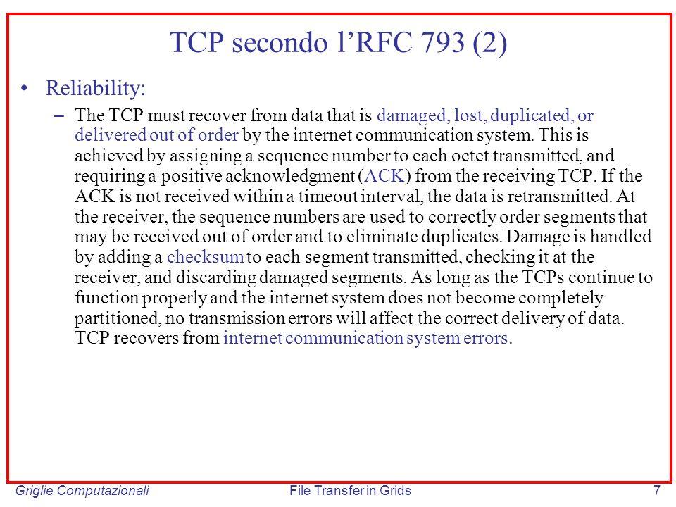 TCP secondo l'RFC 793 (2) Reliability: