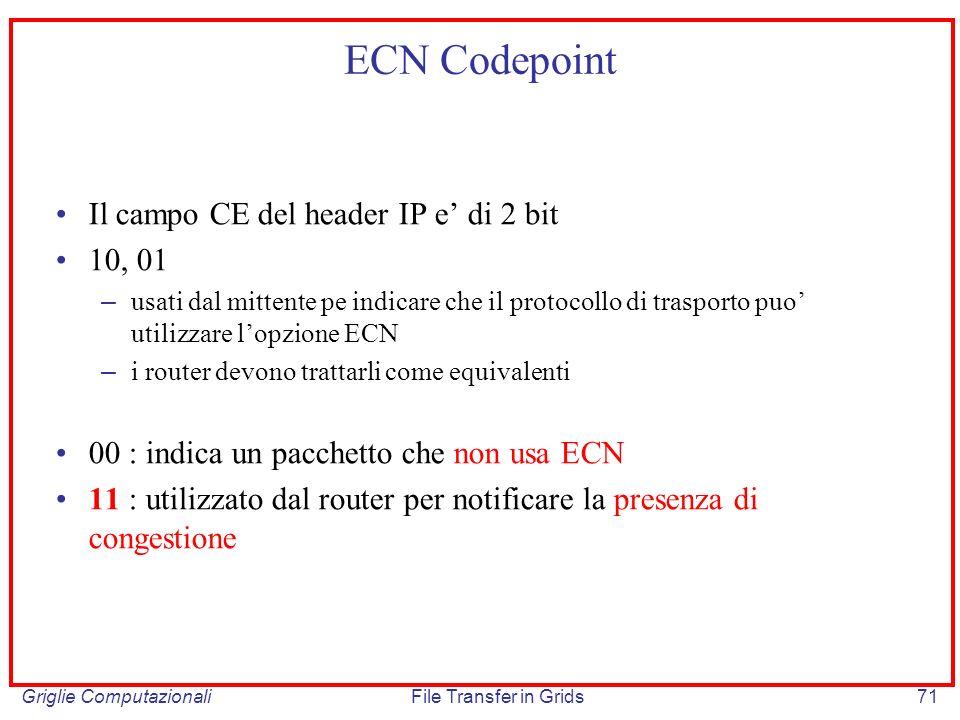 ECN Codepoint Il campo CE del header IP e' di 2 bit 10, 01