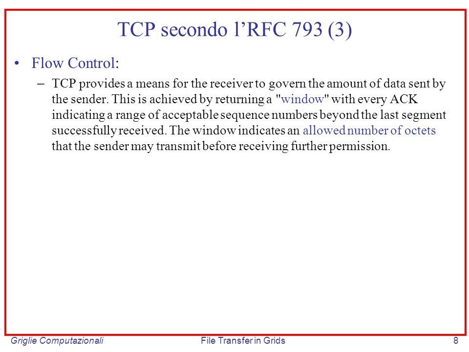 TCP secondo l'RFC 793 (3) Flow Control: