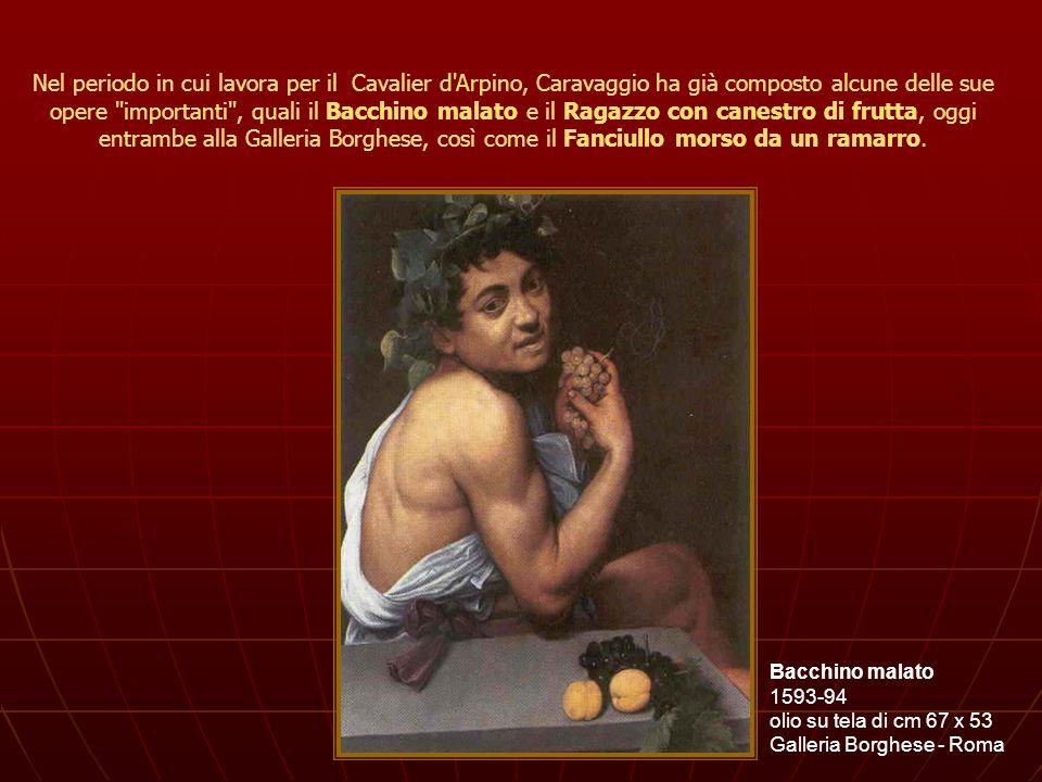 Nel periodo in cui lavora per il Cavalier d Arpino, Caravaggio ha già composto alcune delle sue opere importanti , quali il Bacchino malato e il Ragazzo con canestro di frutta, oggi entrambe alla Galleria Borghese, così come il Fanciullo morso da un ramarro.