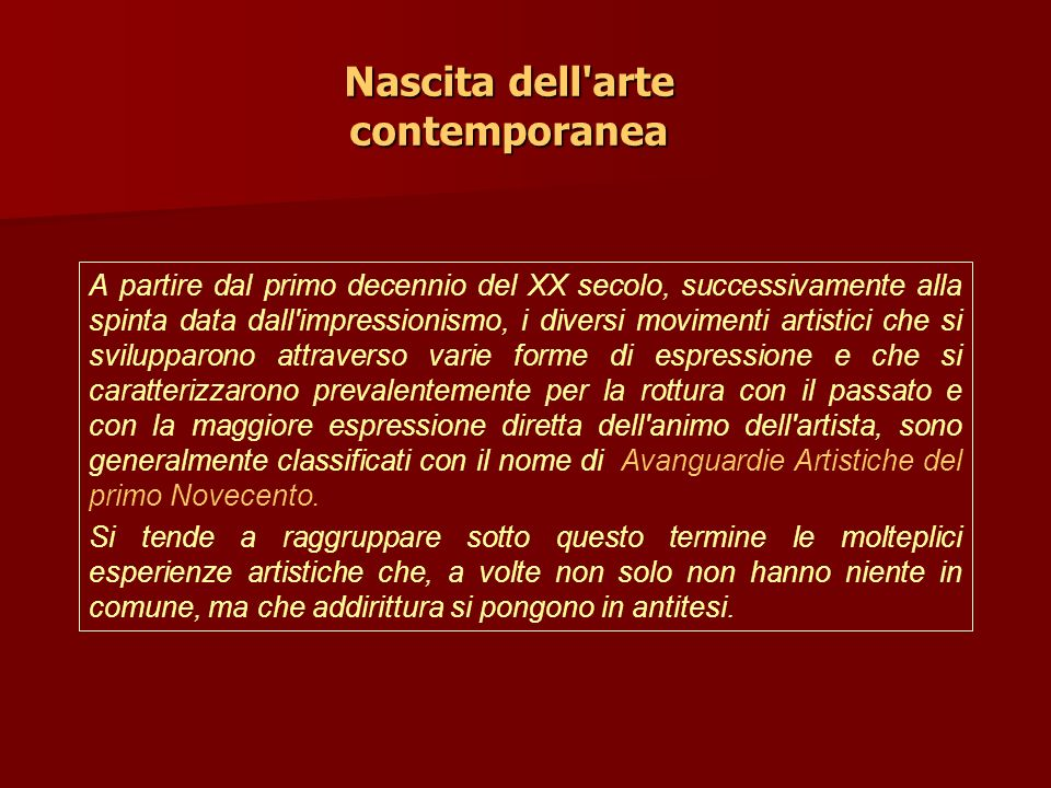 Nascita dell arte contemporanea