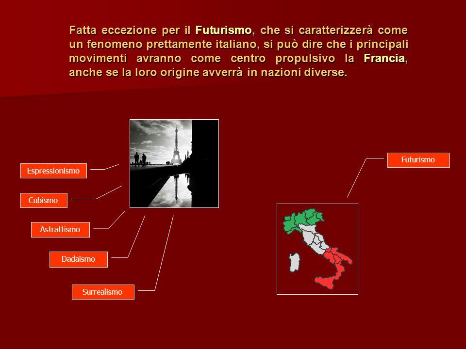 Fatta eccezione per il Futurismo, che si caratterizzerà come un fenomeno prettamente italiano, si può dire che i principali movimenti avranno come centro propulsivo la Francia, anche se la loro origine avverrà in nazioni diverse.