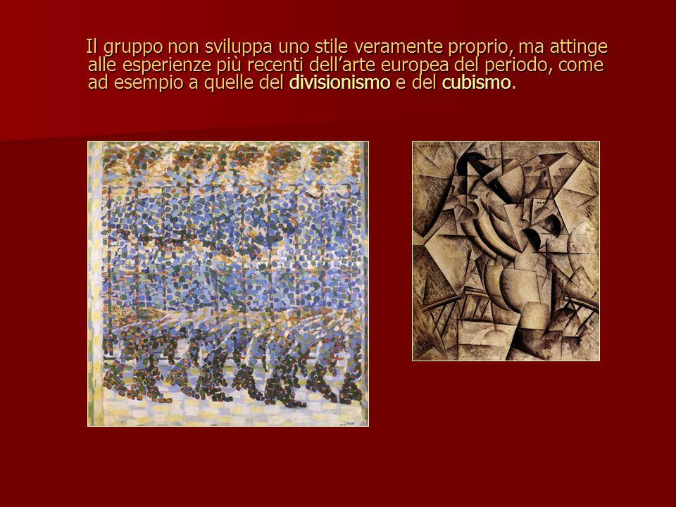 Il gruppo non sviluppa uno stile veramente proprio, ma attinge alle esperienze più recenti dell'arte europea del periodo, come ad esempio a quelle del divisionismo e del cubismo.
