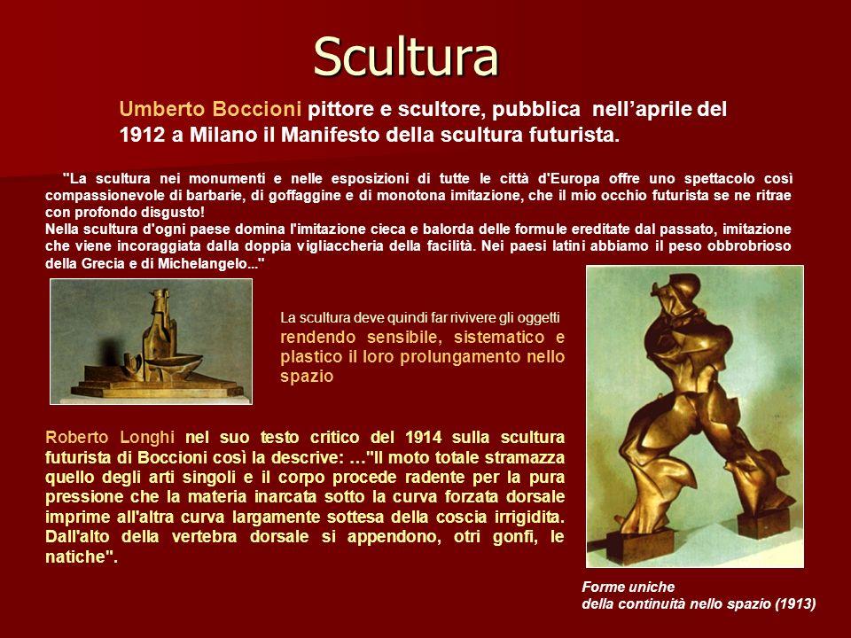 Scultura Umberto Boccioni pittore e scultore, pubblica nell'aprile del 1912 a Milano il Manifesto della scultura futurista.