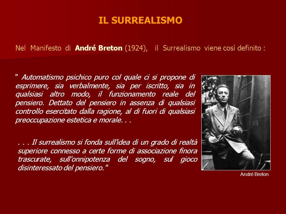 IL SURREALISMO Nel Manifesto di André Breton (1924), il Surrealismo viene così definito :