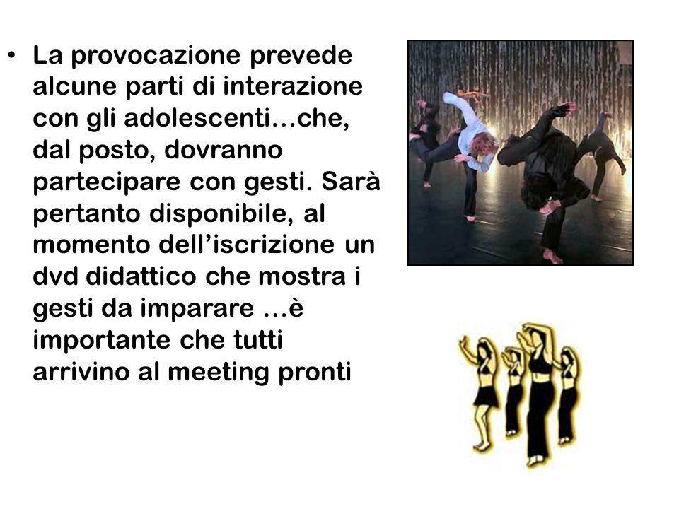 La provocazione prevede alcune parti di interazione con gli adolescenti…che, dal posto, dovranno partecipare con gesti.