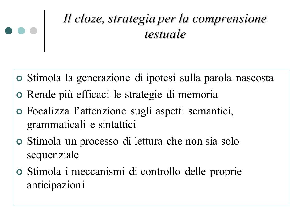 Il cloze, strategia per la comprensione testuale