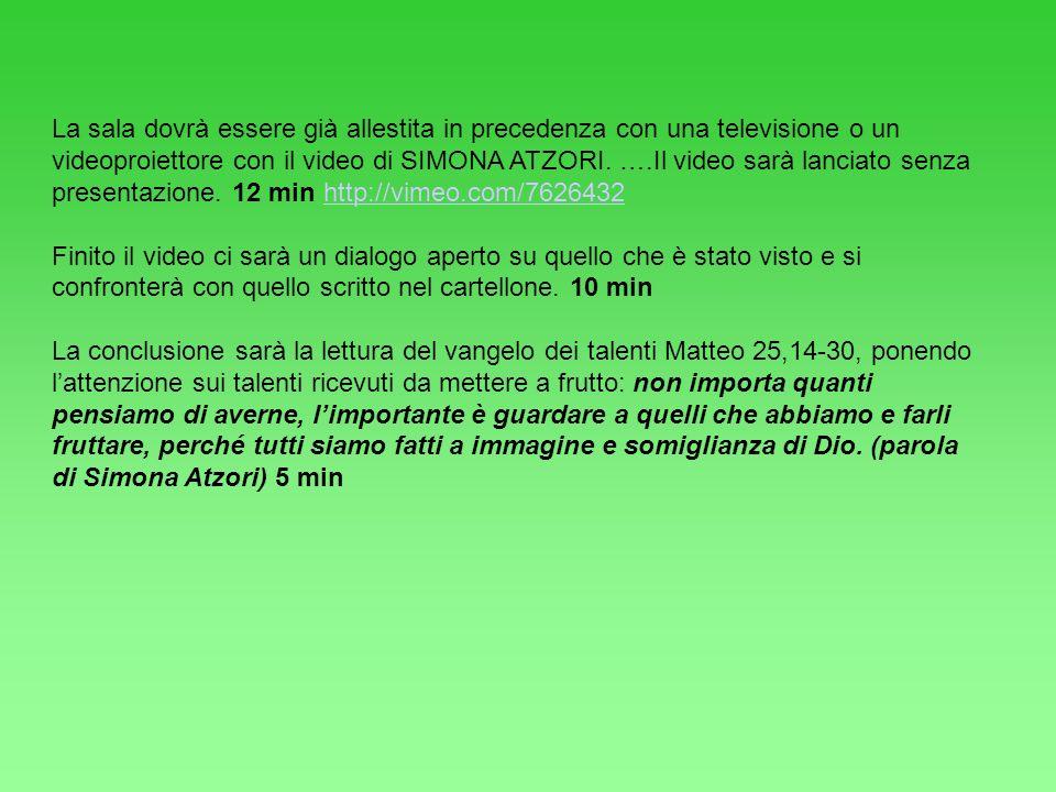 La sala dovrà essere già allestita in precedenza con una televisione o un videoproiettore con il video di SIMONA ATZORI. ….Il video sarà lanciato senza presentazione. 12 min http://vimeo.com/7626432