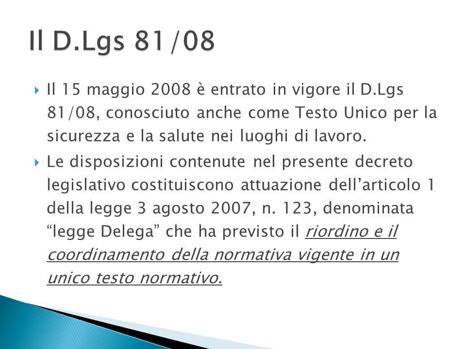 Il D.Lgs 81/08