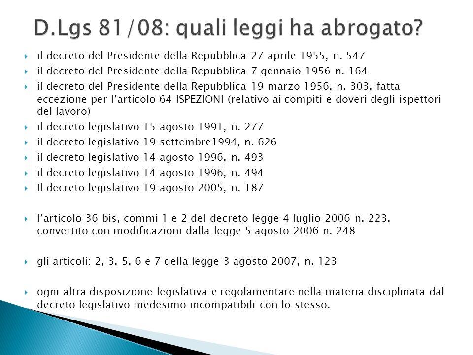 D.Lgs 81/08: quali leggi ha abrogato
