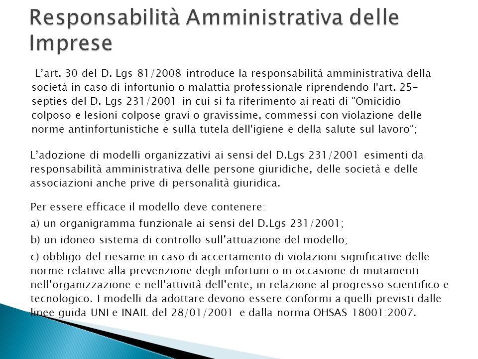 Responsabilità Amministrativa delle Imprese