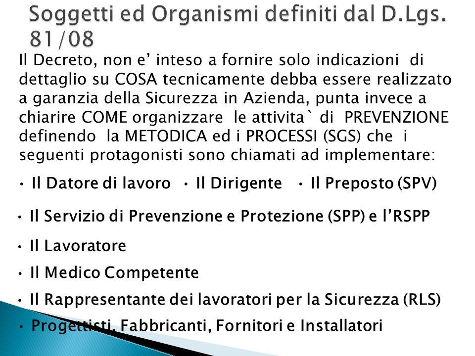 Soggetti ed Organismi definiti dal D.Lgs. 81/08