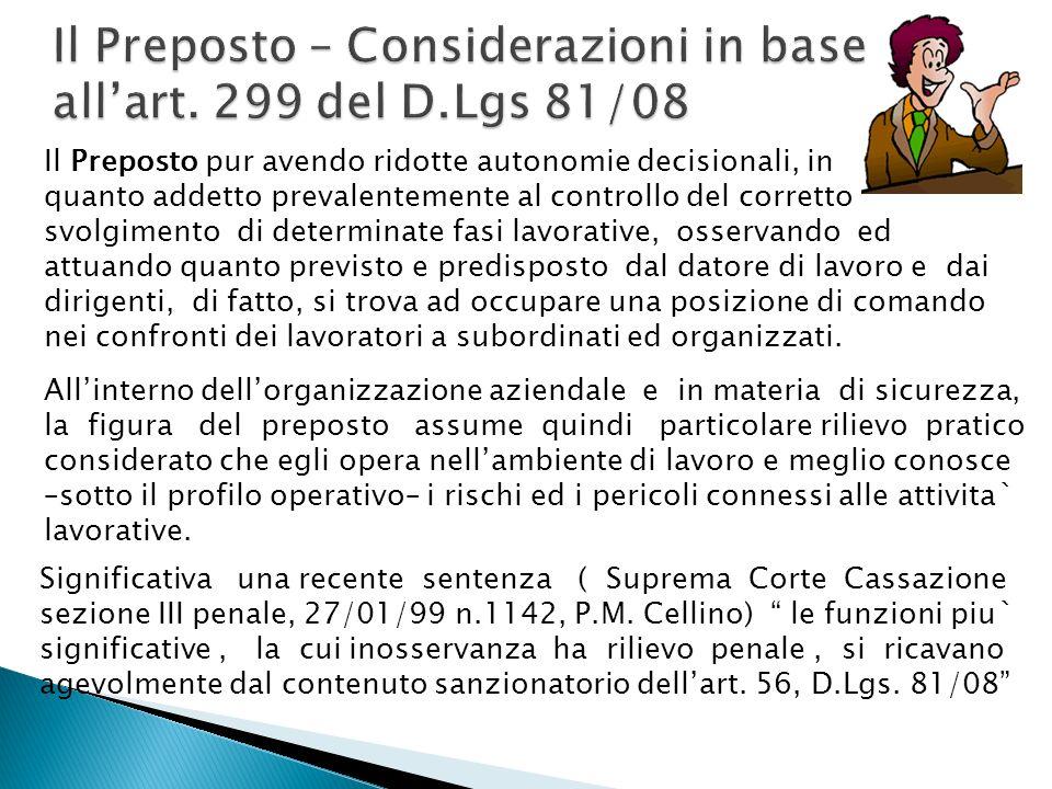 Il Preposto – Considerazioni in base all'art. 299 del D.Lgs 81/08