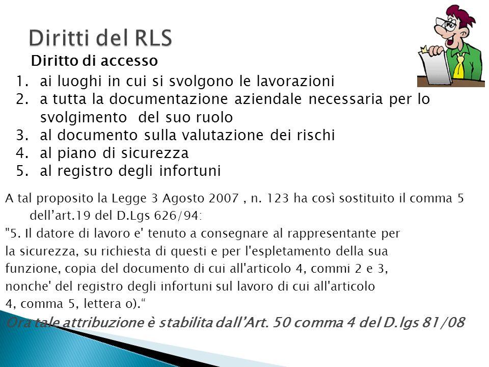 Diritti del RLS Diritto di accesso