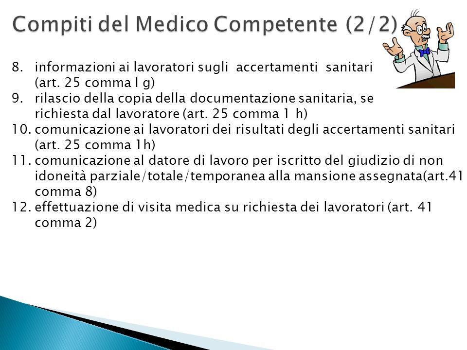 Compiti del Medico Competente (2/2)