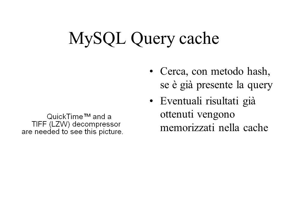 MySQL Query cache Cerca, con metodo hash, se è già presente la query