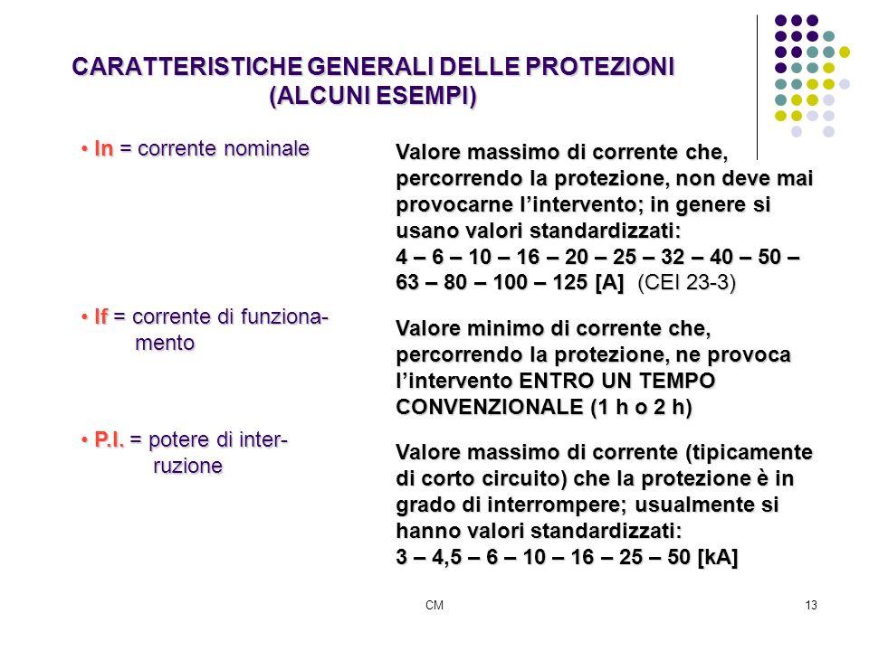 CARATTERISTICHE GENERALI DELLE PROTEZIONI (ALCUNI ESEMPI)