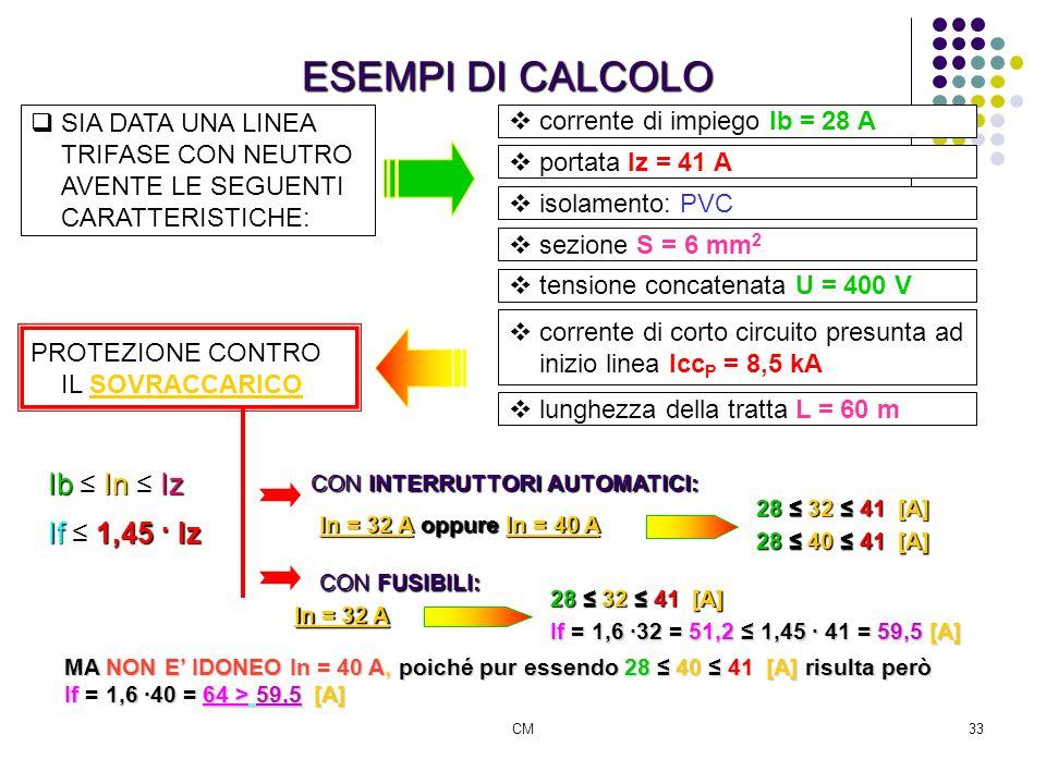 ESEMPI DI CALCOLO Ib ≤ In ≤ Iz If ≤ 1,45 · Iz