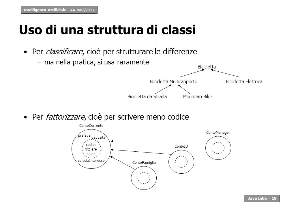Uso di una struttura di classi