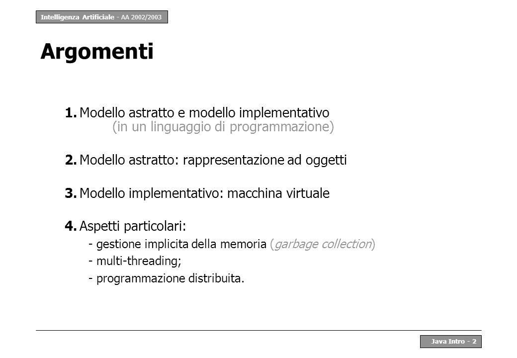 Argomenti 1. Modello astratto e modello implementativo (in un linguaggio di programmazione) 2. Modello astratto: rappresentazione ad oggetti.