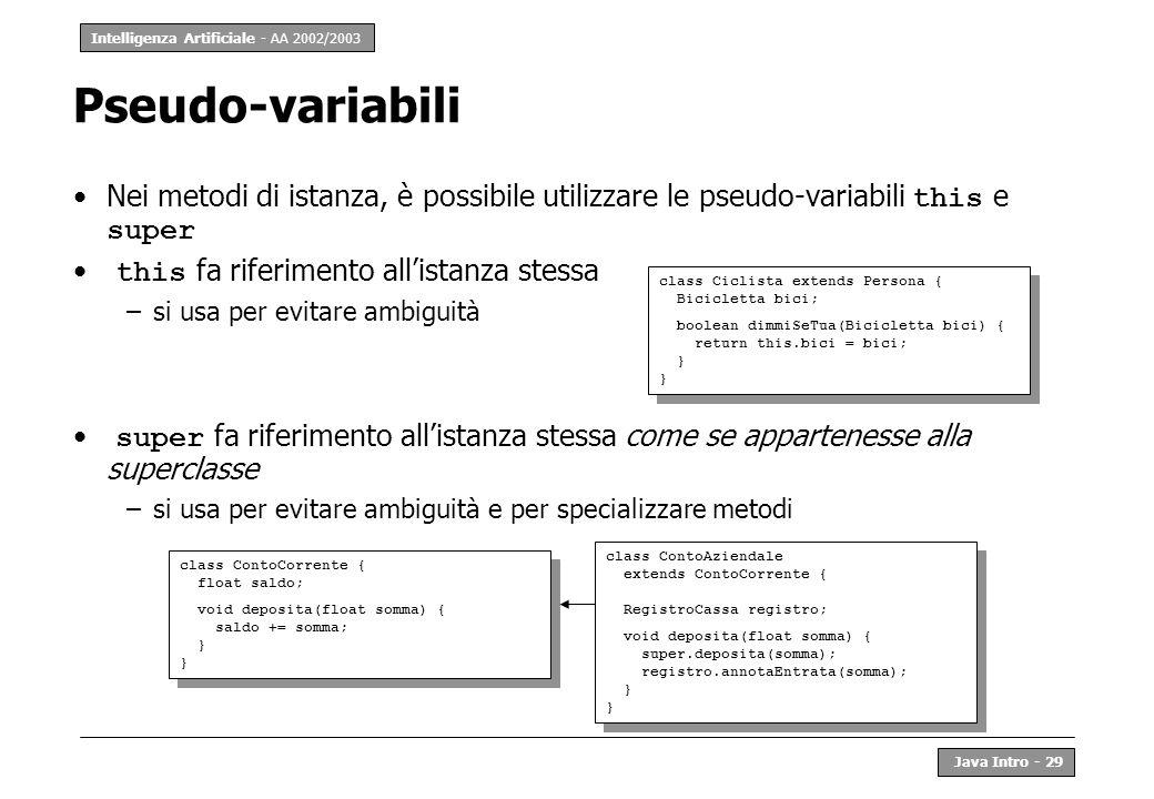 Pseudo-variabili Nei metodi di istanza, è possibile utilizzare le pseudo-variabili this e super. this fa riferimento all'istanza stessa.
