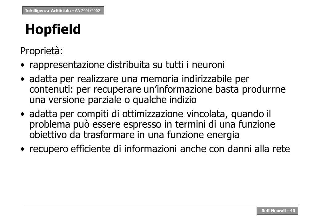 Hopfield Proprietà: rappresentazione distribuita su tutti i neuroni