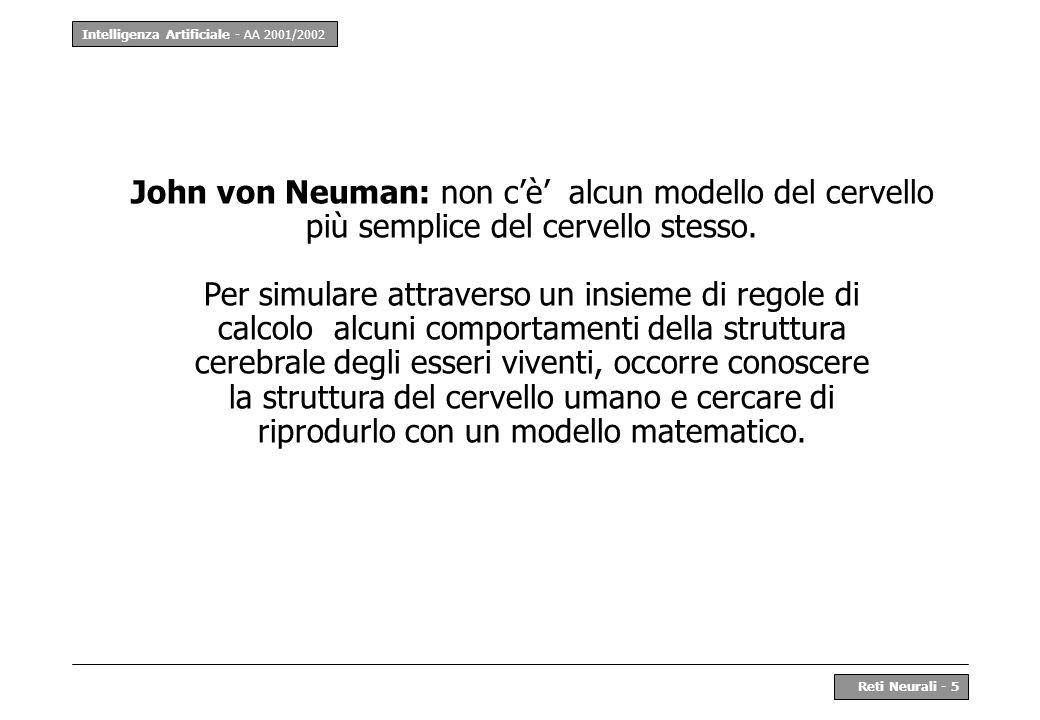 John von Neuman: non c'è' alcun modello del cervello più semplice del cervello stesso.