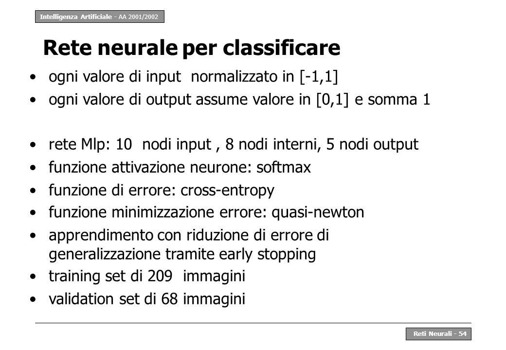 Rete neurale per classificare