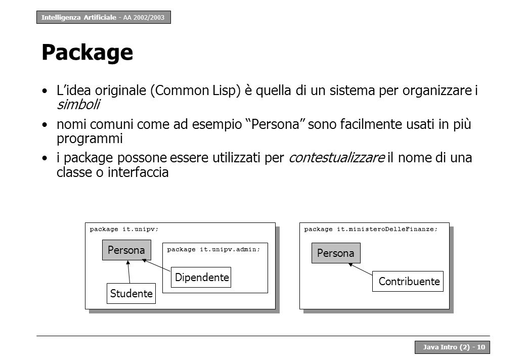 Package L'idea originale (Common Lisp) è quella di un sistema per organizzare i simboli.