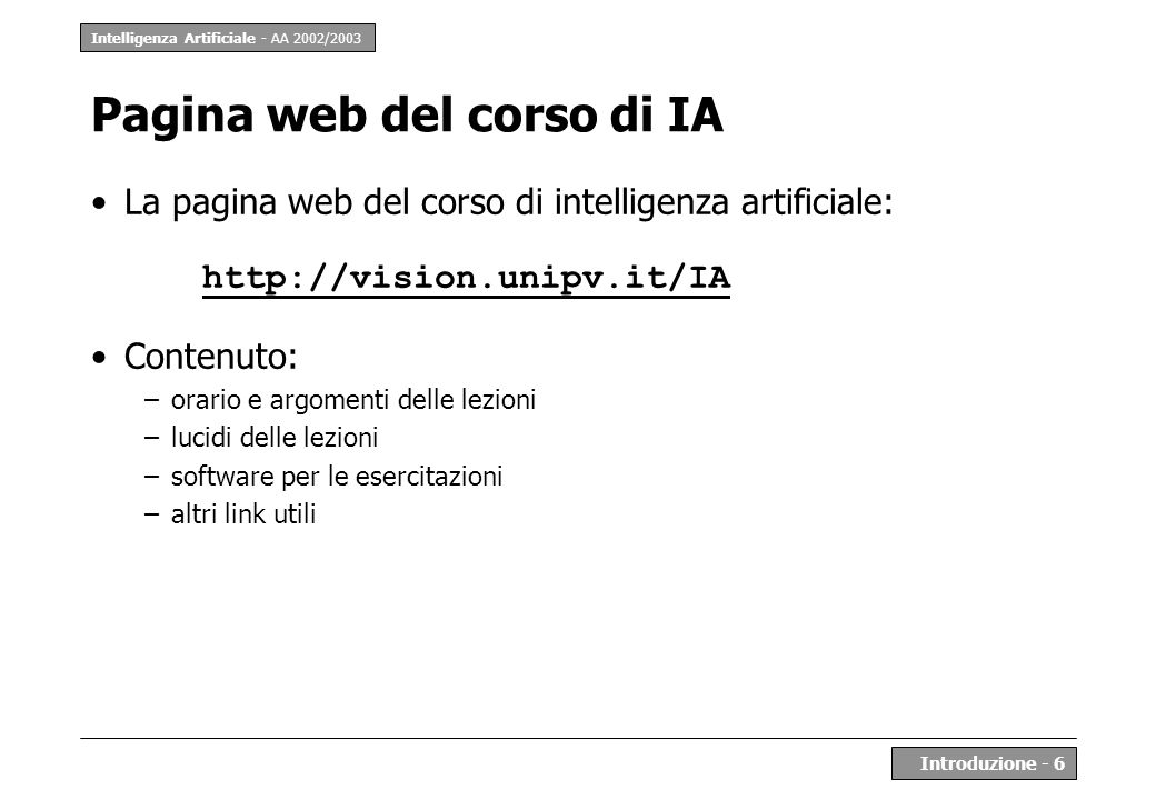 Pagina web del corso di IA