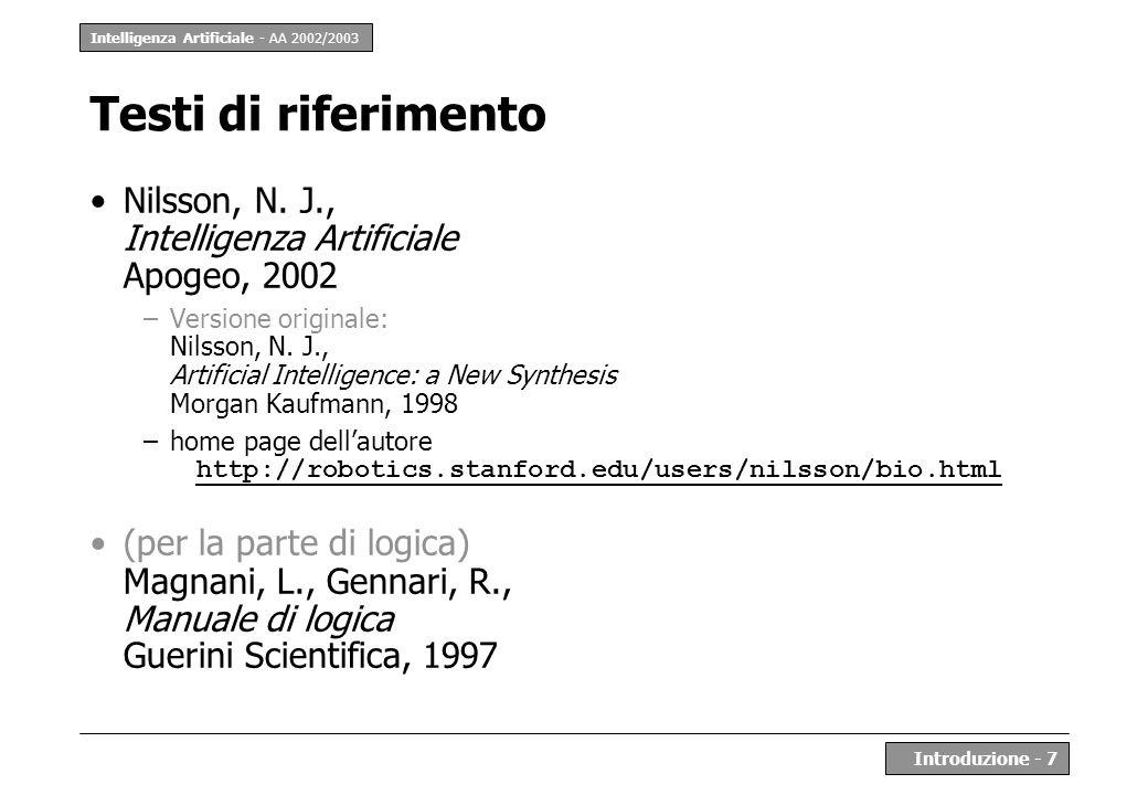 Testi di riferimento Nilsson, N. J., Intelligenza Artificiale Apogeo, 2002.
