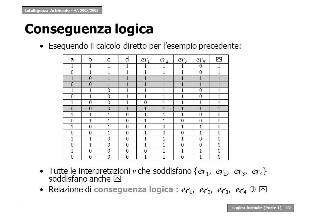 Conseguenza logica Eseguendo il calcolo diretto per l'esempio precedente: