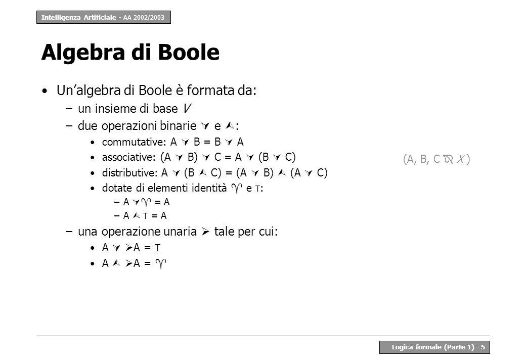Algebra di Boole Un'algebra di Boole è formata da: