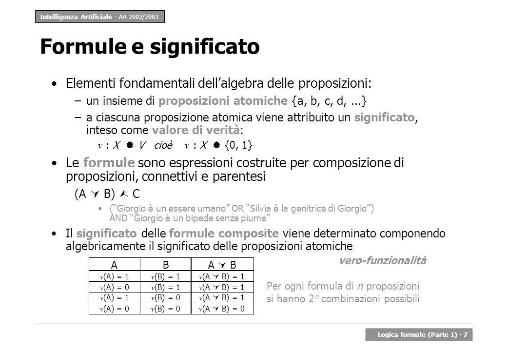 Formule e significato Elementi fondamentali dell'algebra delle proposizioni: un insieme di proposizioni atomiche {a, b, c, d, ...}