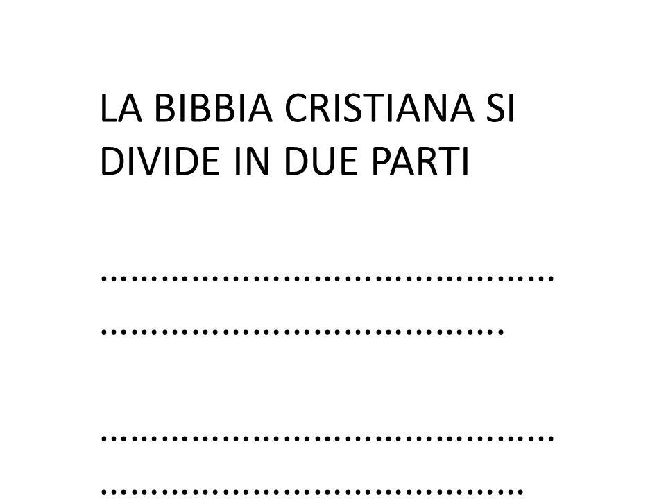 LA BIBBIA CRISTIANA SI DIVIDE IN DUE PARTI