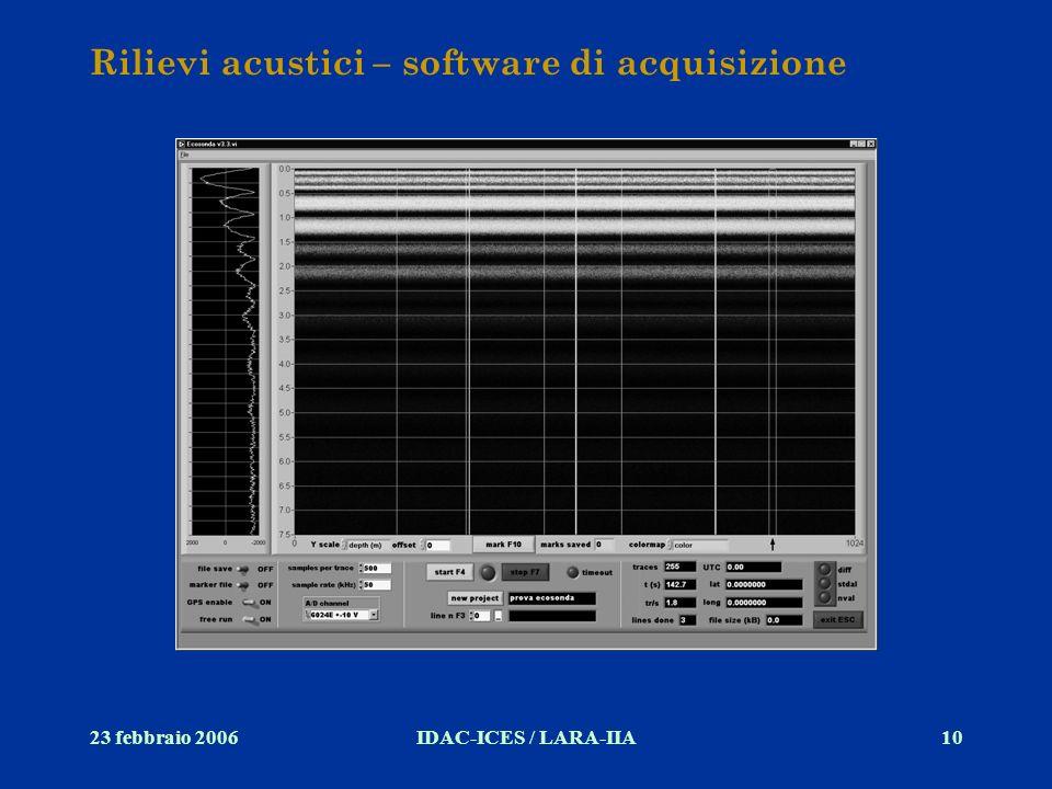 Rilievi acustici – software di acquisizione
