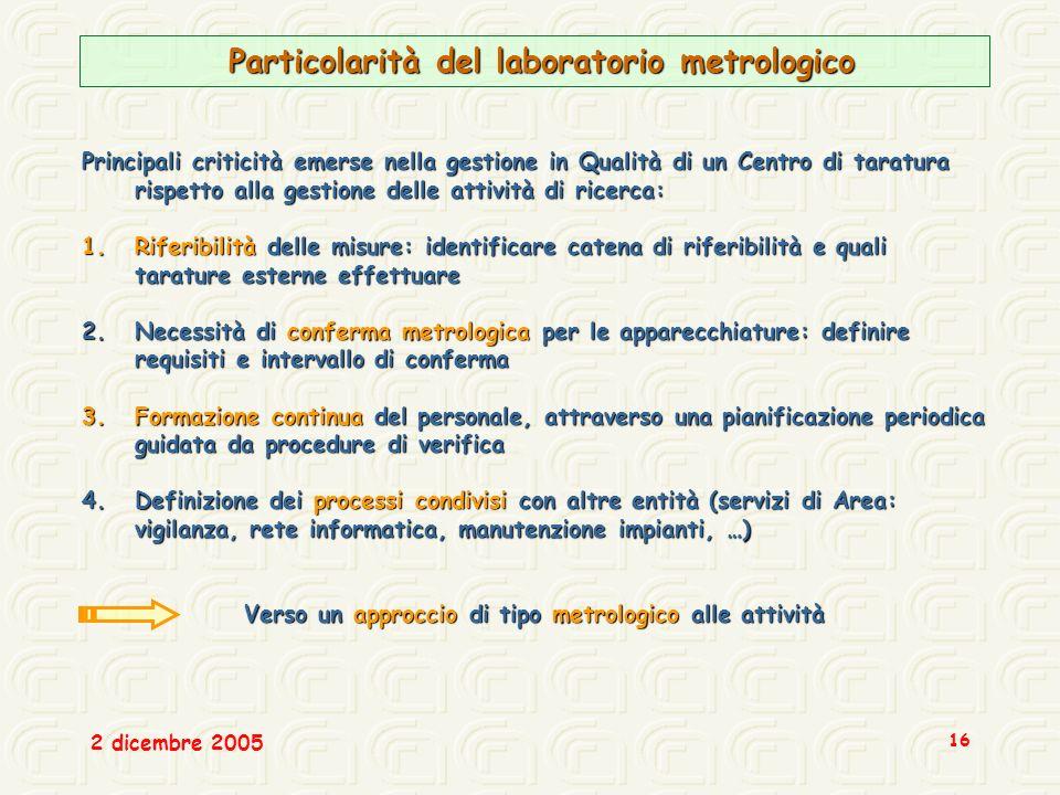 Particolarità del laboratorio metrologico