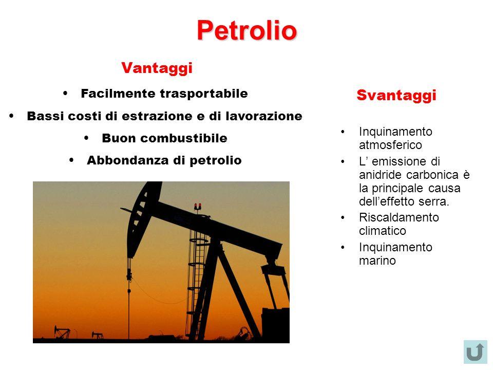 Petrolio Vantaggi Svantaggi Facilmente trasportabile